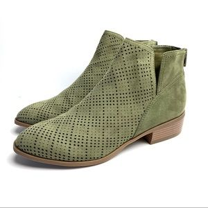 FRANCESCAS Perforated Ankle Booties Boots Olive